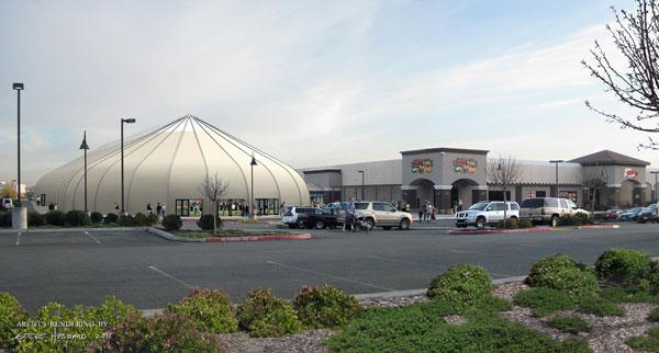 An artist's rendering of the Strikes Pavilion, left, depicts the fabric-covered structure proposed as a venue for youth sports.
