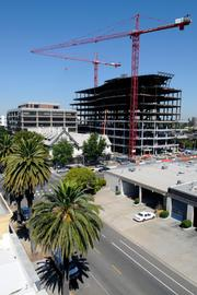 Cranes rise high over construction of Sutter's Anderson Lucchetti Women's and Children's Center.