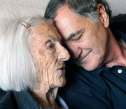 """Hospice care is one of the greatest things in life,"" said Rick Cambra, as he shares a quiet moment with his significant other, hospice patient Ida May Hawkins."