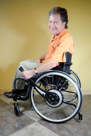 The Wijit lever system, designed by Brian Watwood, enables people to propel their wheelchairs more easily.