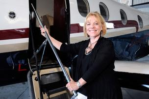Faith Whitmore, executive director of Francis House Center, photographed at Sacramento's Executive Airport.