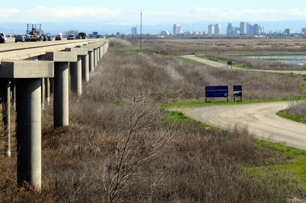 The city of Davis is debating the use of 391 acres that abuts Mace Boulevard and Interstate 80, just up the road from the Yolo Causeway, above.
