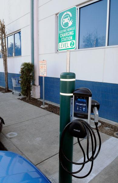 Electric car charging stations, like this one in the Walgreens parking lot at Broadway and  14th streets in Sacramento, may soon become more available.