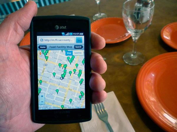 A new application for smartphones allows users to search a map of restaurants in the county and see their inspection status.