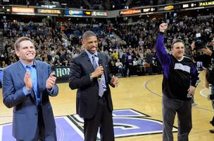 Mayor Kevin Johnson, center,  celebrated with Kings owners Joe, left, and Gavin Maloof after reaching an initial arena agreement earlier this year.