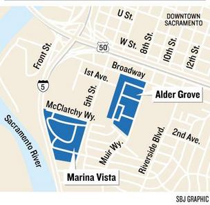 Location of Marina Vist and Alder Grove housing projects
