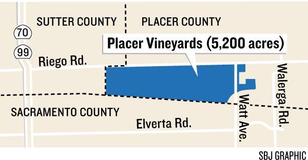 More than 300 acres of the Placer Vineyards project, first proposed in 1997, could be sold at auction. At buildout, the project could hold more than 14,000 homes.