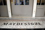 "The original mosaic tile in front of the building spells Maydestone with a backwards ""N."""