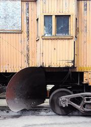 A train sits at the railroad shops, which organizers hope to turn into a railroad tech museum.