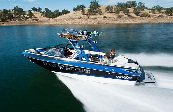 A Malibu Boats Wakesetter LSV model plies the waters of Northern California.