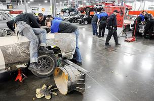 WyoTech students take cars apart during class at the West Sacramento campus.
