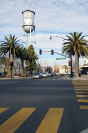 A water tower on Plumas Street in downtown Yuba City gives a definite nod to the region's agricultural base.