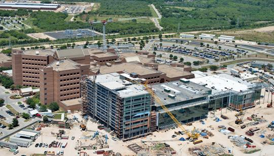 An aerial photo of the construction at Fort Sam Houston. Military spending pumped billions into the San Antonio economy.