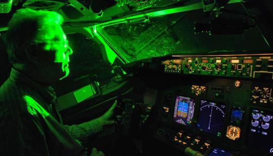 This is a simulated aircraft laser incident provided by the FAA.
