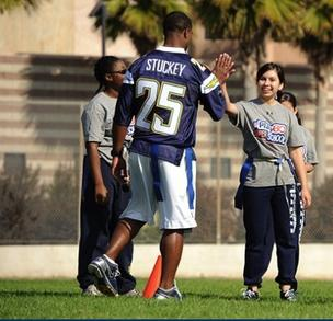 A file photo of San Diego Chargers' Darrell Stuckey visiting with fans at training camp. Texas Gov. Rick Perry created a stir this week when he suggested that the team consider a move to San Antonio.