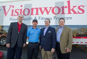 Visionworks has agreed to become the official eyewear sponsor of the PGA Tour. Jim Eisen, president of Visionwoks; Rory Sabbatini, Visionworks-sponsored golfer; Dr. William Winkenwerder, president and CEO of Highmark and David Holmberg, CEO of HVHC, Inc. pose in front of the Visionworks player health trailer.
