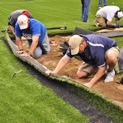 Sections of AstroTurf were cut out and filled with clay for base paths. Promoters had initially considered inserting orange-colored synthetic turf in those areas.