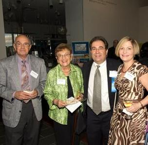 Dave Present, Joan Ratner, Health Care Hero – Innovator Adam Ratner, M.D., The Patient Institute and Varda Ratner celebrate in the lobby of the McNay Art Museum.