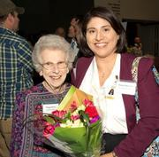 Health Care Hero – Volunteer: Peggy Perry, Nix Health Foundation mixes and mingles with Diana Holcomb.