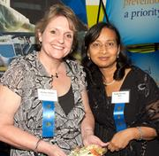 Two Health Care Heroes: Shelley Botello, Methodist Specialty and Transplant Hospital – Health Care Provider (Non-Physician) Category and Amita Patnaik, M.D., S.T.A.R.T.  — Biomedical Research Category celebrate before the event.