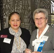 Kathleen Doria of the Alpha Home visits with Health Care Hero – Volunteer: Mary Klenke with the ALS Association.