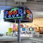The old Windsor Park Mall food court sign was salvaged at Rackspace.