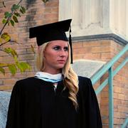 Lauren Schultz on graduation day from Our Lake of the Lake University.