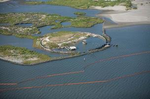 An aerial shot of cleanup activities off the Florida Gulf coast following the BP oil spill.