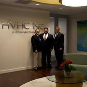 Best Office Lease:Visionary Properties and Argo Group at the IBC Centre —Scott Wolff and Larry Mendez of Transwestern visit with new IBC Centre tenant David L. Holmberg, CEO of HVHC Inc. (Visionary Properties lease). Total square footage leased by both Visionary and Argo is nearly 200,000.