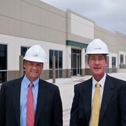 """Best Industrial Development:Thousand Oaks Business Parks I and II —Thomas J. """"Ty"""" Bragg, vice president, and J. Mark Cavender, president, of Cavender & Hill Properties Inc. are the leasing agents for the new industrial facility developed by EastGroup Properties in Houston."""
