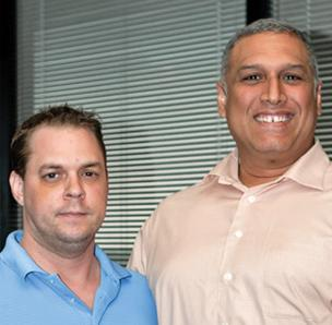 (L to R) Dale Hardy Jr. and Greg Berlanga are principals with New Global Ventures, which has launched a new mobile application platform for small business clients.