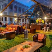 Don Strange of Texas set up an outdoor Texas Ranch-style lounge area at one event.