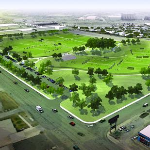 Goodbye flooding and decay. Hello public park space and soccer fields. Rerouting storm water at Fredericksburg Road and Gardina Street allowed for creation of urban green space.