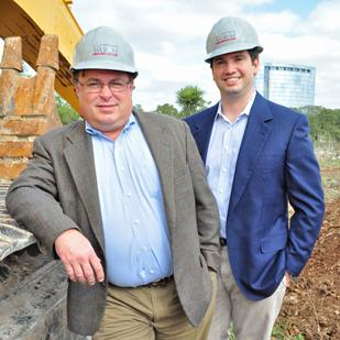 (L to R) Shawn Gulley and Clint Worth of R.L. Worth & Associates say the firm has picked a high-profile address for its newest project — Ridgewood Park, which is anchored by Tesoro Corp.