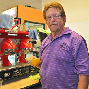 Don Counts, owner of Java Nook coffee shops, says his customers have come to expect free Wi-Fi service when they come to his shops.