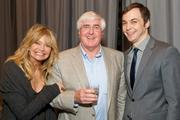 """Uber early stage tech investor Ron Conway flanked by Academy Award winning actress Goldie Hawn and Jim Parsons, the Emmy-award winning television star of """"The Big Bang Theory,"""" who was master of ceremonies."""