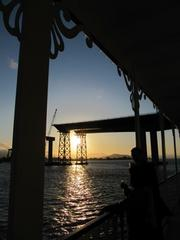The view of the east span of the Bay Bridge from the deck of the San Francisco Belle.
