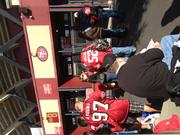 Fans wait to get into Saturday's playoff game against the New Orleans Saints.