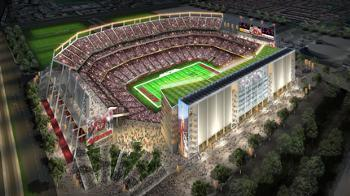 An artists' rendering of what the 49ers stadium might look like if it gets built in Santa Clara.