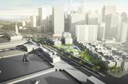 A rendering of the proposed 8 Washington St. viewed from the north.