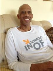Kareem Abdul-Jabbar on May 24 as he prepared to speak to chronic myeloid leukemia patients in Burlingame.
