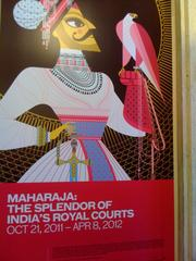 A drawing by Sanjay Patel enlivens a promotional poster for the upcoming Maharaja exhibit at the Asian Art Museum.