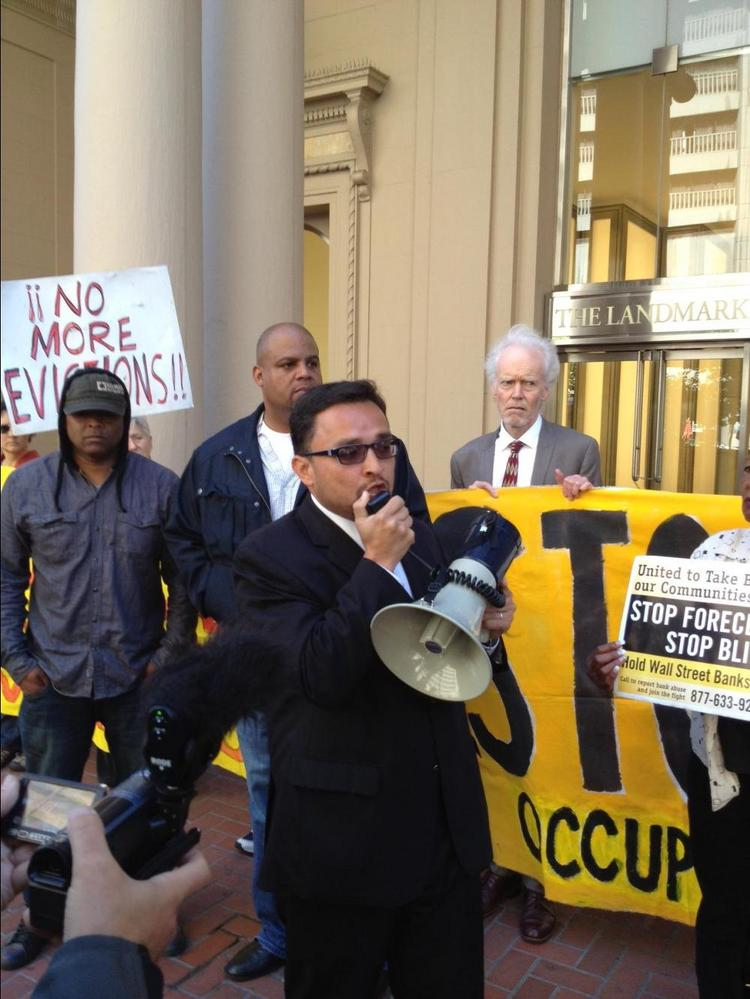 San Francisco Supervisor David Campos spoke about the nation's foreclosure crisis at a protest Monday.