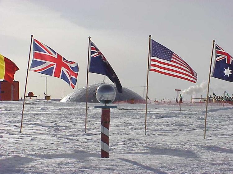 The Ceremonial South Pole is one of the Antarctic sites added by Google to its map views.