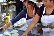 Fresh tortillas were made at Los Cilantros.