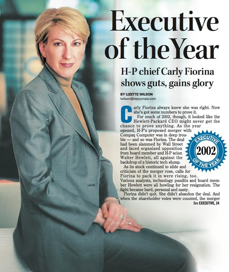 Executive of the Year for 2002: Carly Fiorina, CEO of Hewlett-Packard.