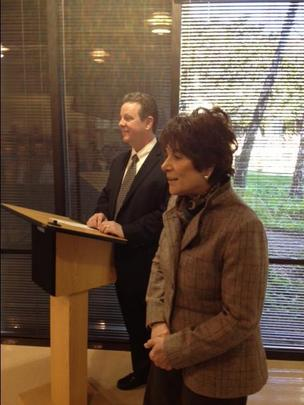 Congresswoman Anna Eshoo, introduced Thursday by BN ImmunoTherapeutics head Jim Breitmeyer, said across-the-board budget cuts brought on by sequestration is