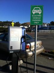 An old-school electric vehicle charger at the Larkspur Ferry Building.
