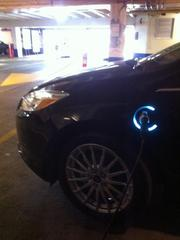 A light around the charge point on the Ford Focus Electric lights up to indicate how full the battery is.