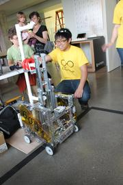 Terra Nova High School students were on hand to show off robots they had built that were capable of picking up rings from one spot and depositing them at another.Very impressive.